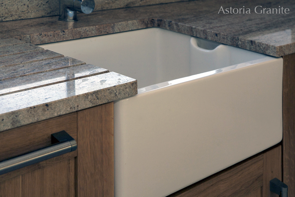 Astoria granite with Belfast sink