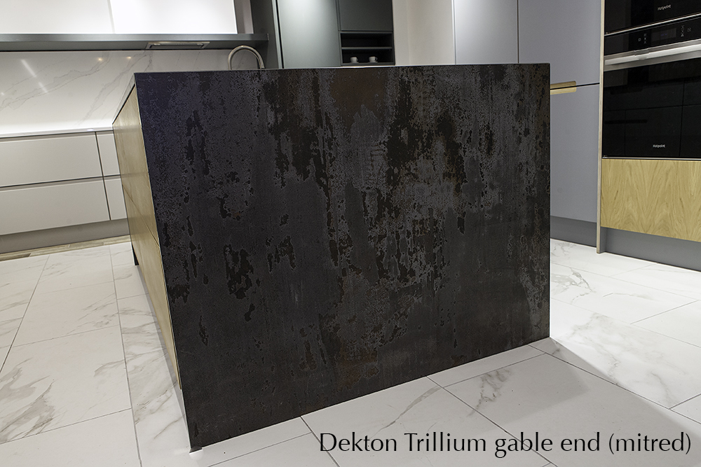 Dekton Trillium gable end with mitred join