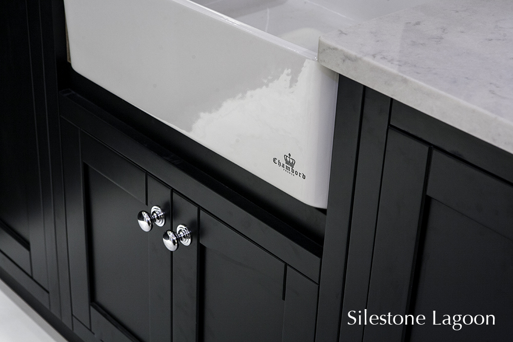Belfast sink with silestone counter top