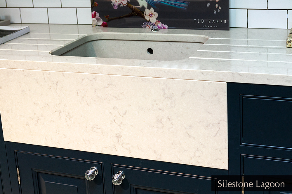 Counter top, undermounted matching sink with facing in Silestone Lagoon, Ireland